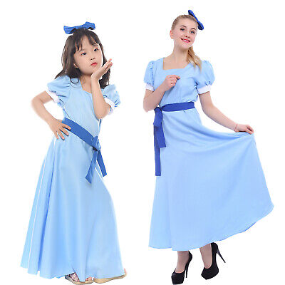 Wendy Costume (Peter Pan Wendy Princess Kids Light Blue Long Party Dress Cosplay Costume +)