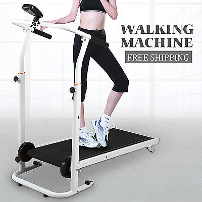 Folding Portable Incline Manual Treadmill Walking Running Fitness Gym Machine BN