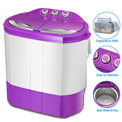 Mini Handy Compact Washing Machine Twin Tub Laundry Washer Spin Dryer RV Dorm