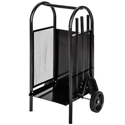 Chariot à bois de chauffage cheminée panier avec pelle, balai et tisonnier