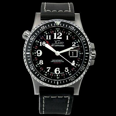 Xezo Air Commando Swiss Made Automatic ETA 2893-2 GMT Watch. VINTAGE Near Mint!