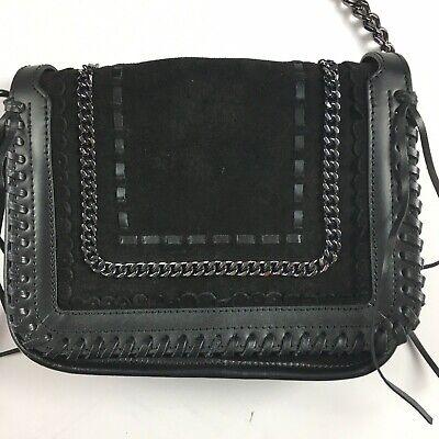 Zara Woman Black Leather Purse Bag Shoulder Bag Tassels Chain Strap