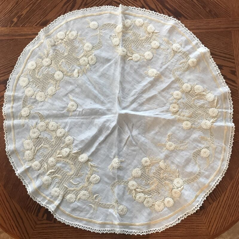 """ANTIQUE LINEN Society SILK Work Hand Embroidered GOLD-IVORY RD TABLE SCARF 32"""""""