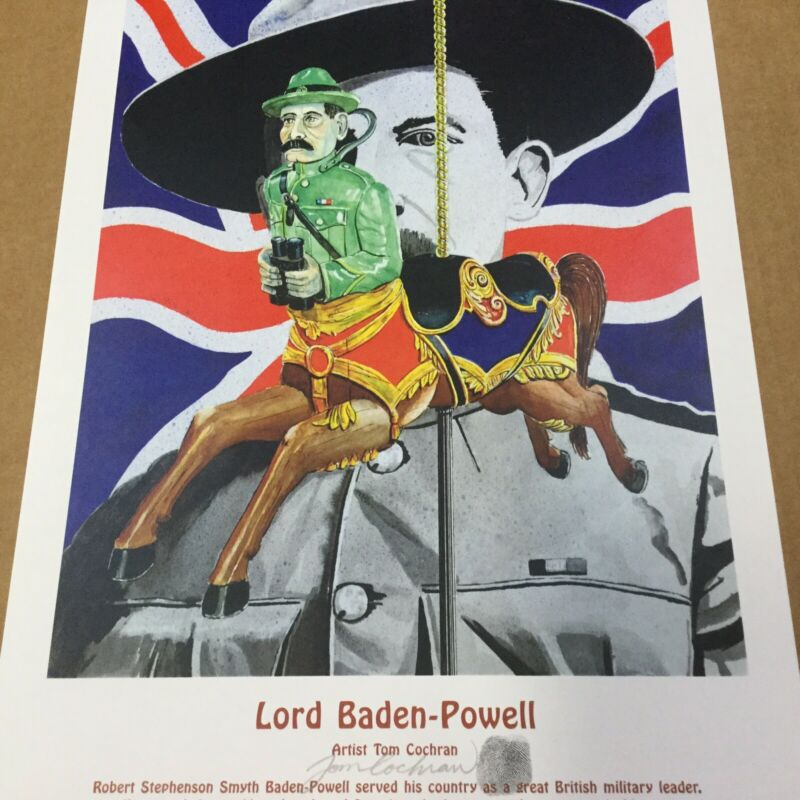 """Boy Scout Poster Lord Baden-Powell Signed By Artist Tom Cochran 18"""" x 12"""""""