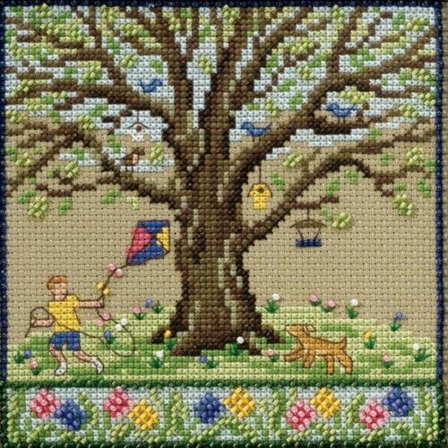 Spring Oak Cross Stitch Kit Mill Hill 2017 Mighty Oak Quarte