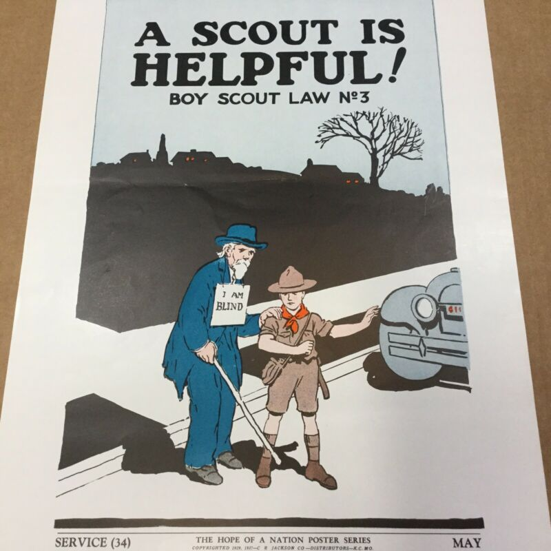 """Boy Scout Poster 1937 A Scout Is Helpful 19"""" x 13"""": The Hope Of A Nation"""