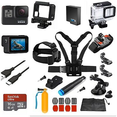GoPro HERO7 Black Camera HD 4K CHDHX-701 Hero 7+16GB Card+Extreme Sports Bundle!