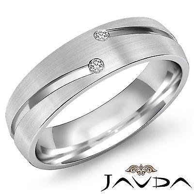 (2 Round Bezel Diamond Half Eternity Wedding Mens Band Ring Platinum 950 0.26Ct)
