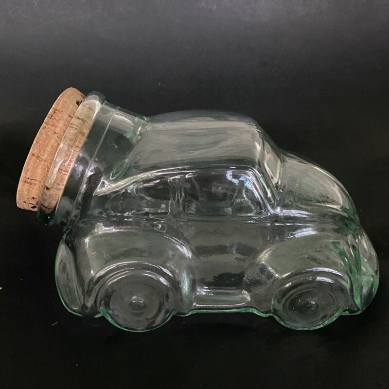 Vintage VW Volkswagen Beetle Bug Green Glass Cookie Candy Snack Jar w/ Cork Lid