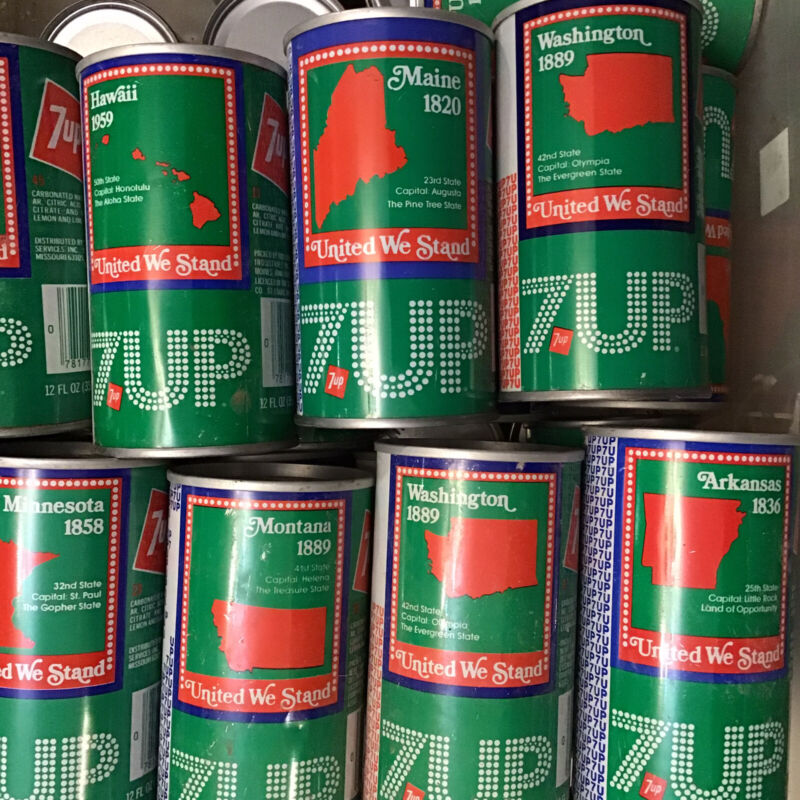 53 Cans Vintage 1976 Bicentennial 7Up United States Pop Soda Pull tab