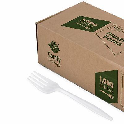 Plastic Forks Medium Weight - White
