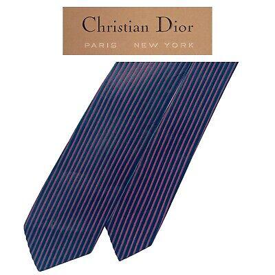1940s Mens Ties | Wide Ties & Painted Ties Christian Dior Vintage Red Tie-Black Vertical Stripes Skinny Narrow 1940's Silk  $35.99 AT vintagedancer.com