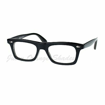 Black Rectangular Clear Lens Glasses Thick Horn Rim Frame (Thick Rimmed Eyeglasses)