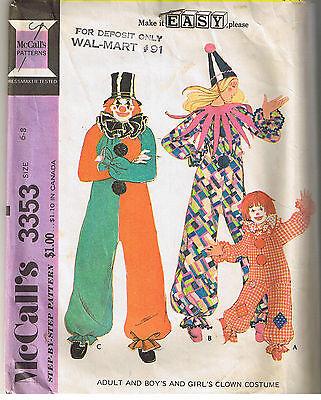Clown Jester Jungen Mädchen Kinder Kinder Kinder Mccalls Kostüm Muster Größe 6 - Kostüm Muster Kinder