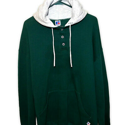 Vintage 90s RUSSELL ATHLETIC Sz 2XL XXL Green Hoodie Sweatshirt Kangaroo Pockets Green Kangaroo Hoody Sweatshirt