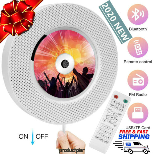 2020 Portable Bluetooth CD Player Wall Mounted Home Audio MP3 FM Radio Speaker