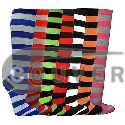 Cotton Nylon Knee High Socks - Women's Fashion Wide Multi-Striped Knee High Casual Tube Cotton Socks