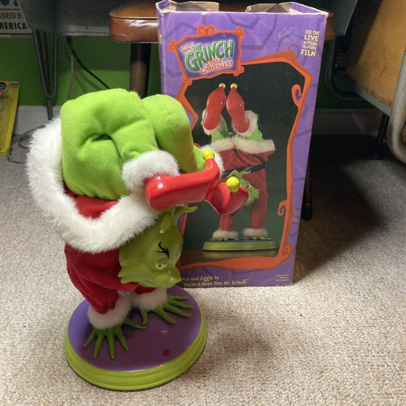 Vtg Vintage HAND-STAND DANCING GRINCH Tested WORKS Christmas decor W/ Box