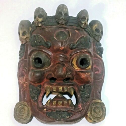 Antique / Vintage Hand Carved Tibetan Mahakala Wrathful Deity Mask - Nice Detail
