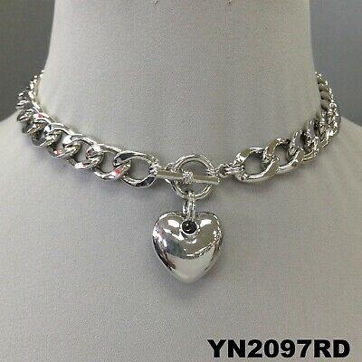 Glam Cuban Link Chain Choker Style Heart Shape Pendant Silver Finish Necklace ()