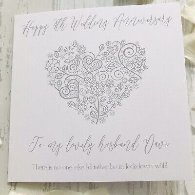 Personalised Lockdown Wedding Anniversary Card Wife Husband 25th 1st 2nd 3rd 4th
