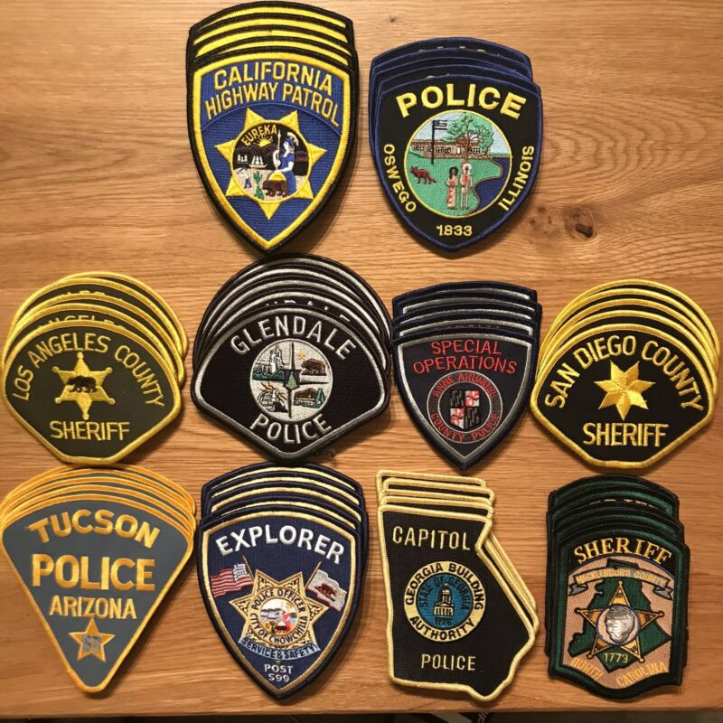 50 pcs Police Patch Trader Lot - 5 of each all unused