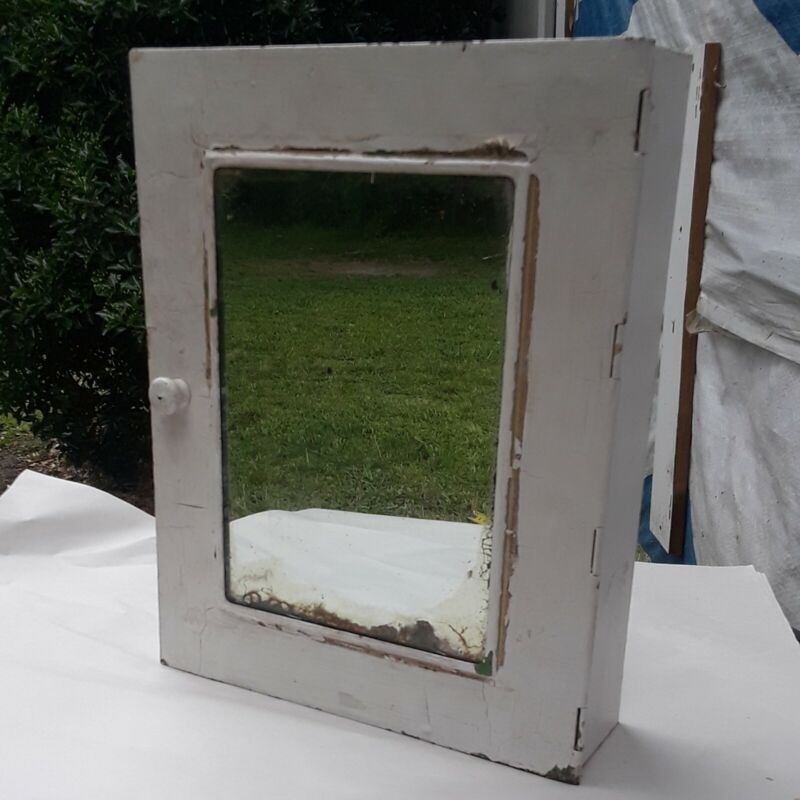 Antique INDUSTRIAL METAL Medicine Cabinet CHIPPY PAINT Shabby Chic Bathroom
