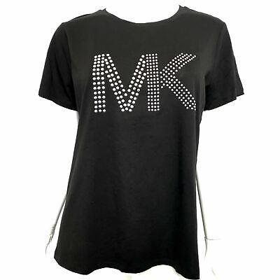 Michael Kors Women's Silver Studded Logo T-Shirt Black Sz L