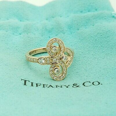Tiffany & Co. 18k Rose Gold Fleur De Lis Diamonds Ring Size 6 With (Tiffany Rose Gold)