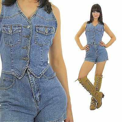 Vintage 90s grunge boho hippie blue denim romper shorts playsuit