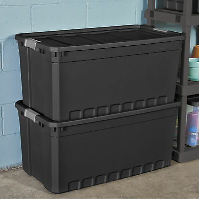 3pc Tractable Storage Containers Portly Vile 50 Gallon Stacking Bin Box Tote W Lid
