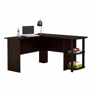 L Shaped Corner Desk Computer Table Executive Office Bookshelves PC  Workstation