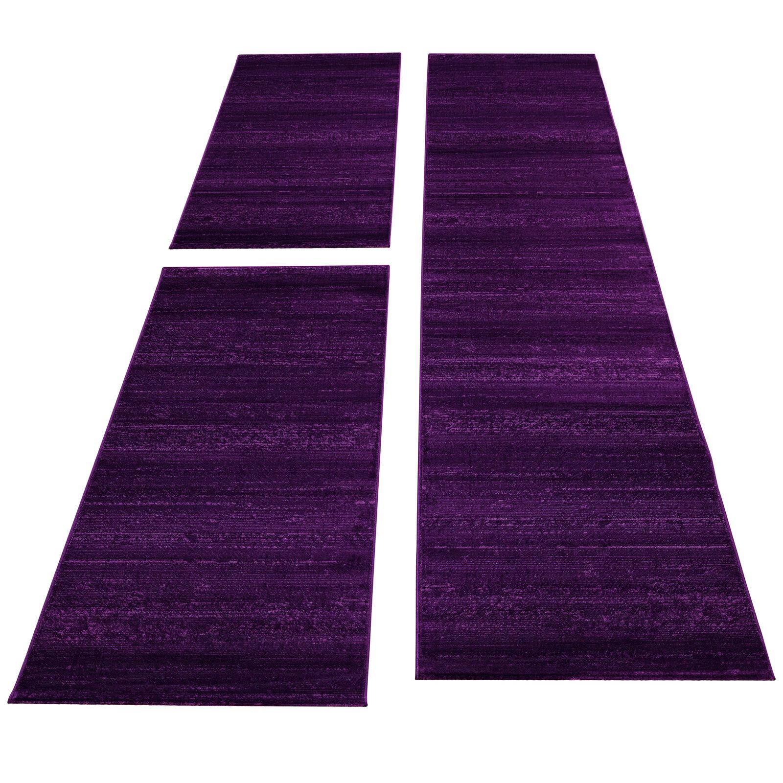 Bettumrandung Läufer Teppich Kurzflor Einfarbig Läuferset 3 teilig Meliert Lila
