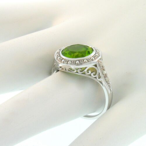 10K WHITE GOLD GENUINE PERIDOT SEED PEARL ANTIQUE DESIGN RING SIZE 6,       #A28