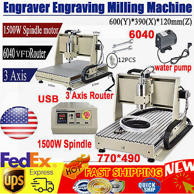 Usb 3 Axis 6040 Cnc Router Engraver 3d Engraving Drilling Milling Machine 1500w