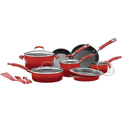 15 Piece Non Stick Cookware Set Kitchen Pots And Pans Red Rachel Ray Hard Enamel