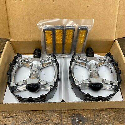 "New Wellgo LU-313 BMX Bicycle Bike Bear Trap Style Pedals 1//2/"" Silver"