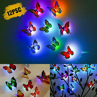 Home Decoration - 12Pcs 3D Butterfly LED Wall Stickers Glowing Bedroom DIY Home Decor Night light