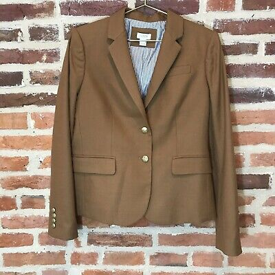 J Crew Factory Schoolboy Blazer Wool Blend Camel Brown Women 8 Gold Buttons
