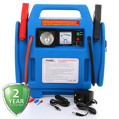 12V Car Jump Starter Battery Start Booster Charger Leads Air Compressor Portable
