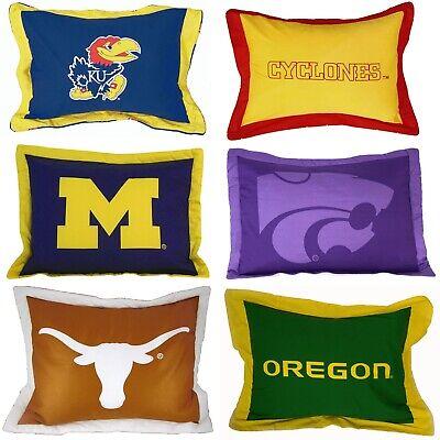 NCAA TEAM LOGO COTTON PILLOW SHAM - College Sports Pillow Cover Bed - College Sports Team Pillow