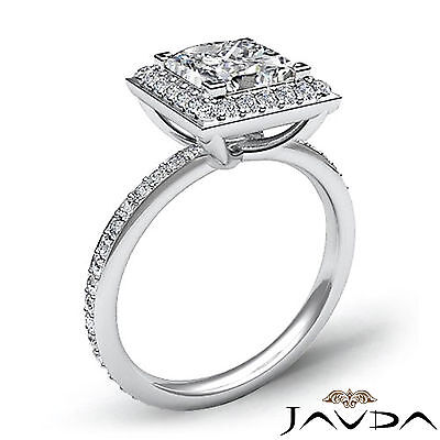 Halo Micro Pave Set Eternity Princess Cut Diamond Engagement Ring GIA G SI1 2Ct 1