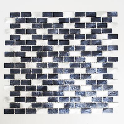 Mosaikmatte Brick Aluminium mix alu/schwarz 306x324mm Mosaik Stein hochwertig