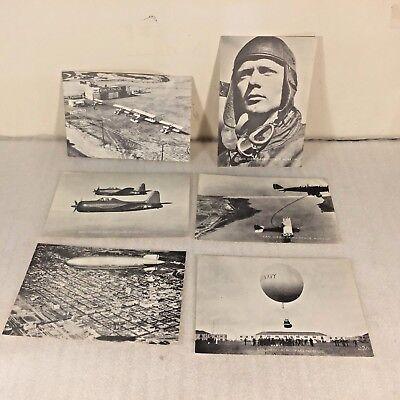 6 Vtg B&W Photo SAN DIEGO AERO-SPACE MUSEUM Post Card Lot Charles Lindbergh