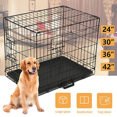 2-Door Portable Dog Pet Cage Collapsible Metal Crate Kennel House Playpen -