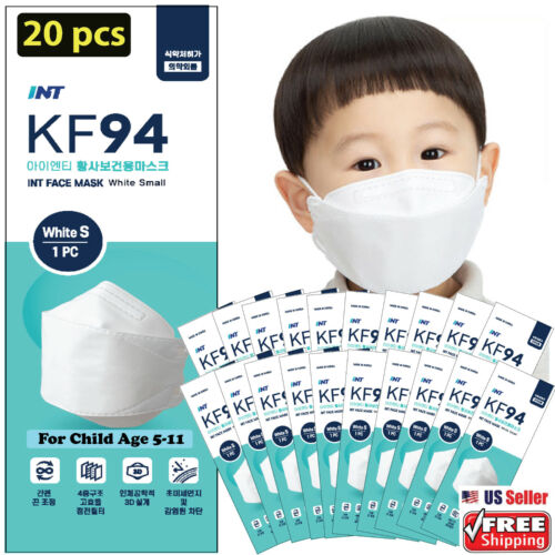 【 20 Pack 】 INT KF94 Kids Face Mask,Small Size for Child 5-11 Years Old