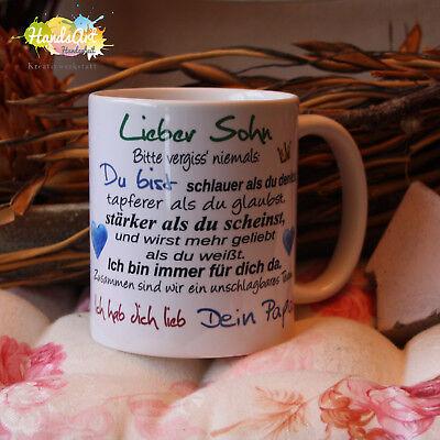 Valentin Kinder (Tasse / Lieber Sohn- Dein Papa/ Geschenk Kinder Weihnachten Valentinstag)