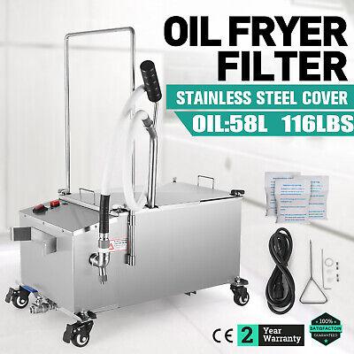 58l Fryer Oil Filter Machine 116lb Oil Capacity 15.3 Gal W Stainless Steel Lid