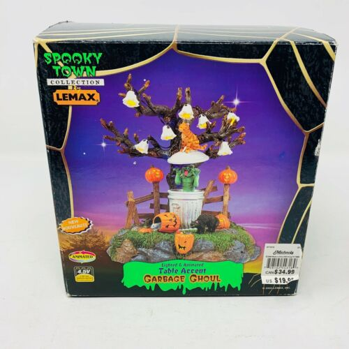 """RETIRED Lemax Spooky Town """"GARBAGE GHOUL"""" Lighted & Animated - WORKS #54318"""