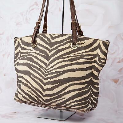 Michael Kors Women's Jet Set Canvas Tote Handbag Medium Zebra Ivory/Dark Brown